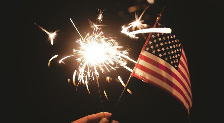 usa flag and sparkler